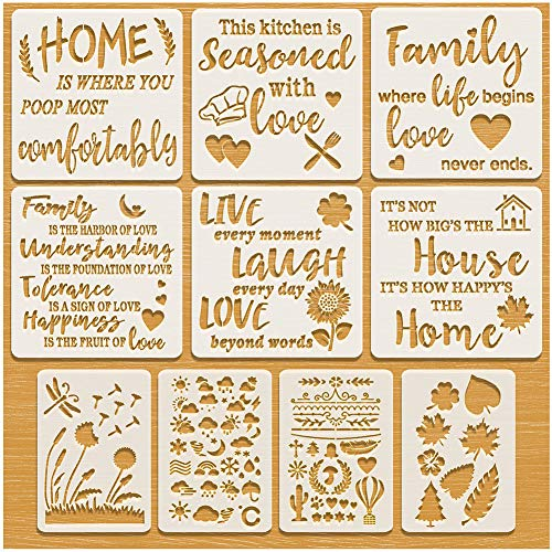 Stencils for Painting on Wood / Canvas, Inspirational Word Stencils, Large Wall Stencils for Home Decor & DIY Projects