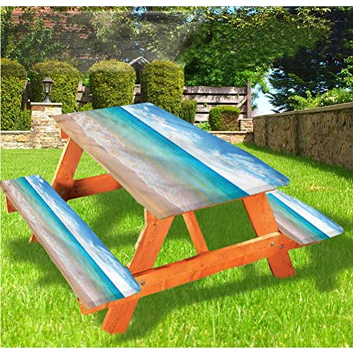 LEWIS FRANKLIN - Cortina de ducha tropical de lujo, cubierta de mesa de picnic, vista escénica de verano con bordes elásticos, 70 x 172 cm, juego de 3 piezas para mesa plegable