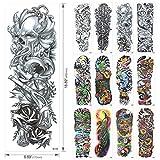Konsait Grande Tatuaggi temporanei, Tatuaggio Temporaneo Tattoo Sleeve Adesivi Temporanei Rimovibili Tatuaggi Adesivi Corpo per Adulti Uomo Donne (18 Fogli)