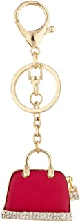 Gold Tone Red Pave Rhinestone Novelty Purse Bag Charm Keychain