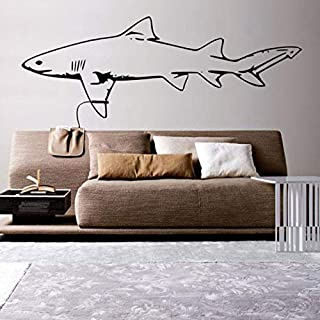 vbgdf Wall Sticker Large Wall Applique Sofa Background Great White Shark Wall Stickers Decoration Living Room Vinyl Wall Art 132 44 cm