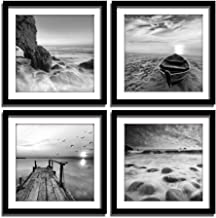 ENGLANT-4 Panels Set Framed Canvas Print for Seascape Beach and Boat Sunrise Scenery Black and White Giclee Canvas Print W...