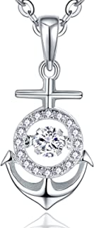 YL Mermaid Necklace Sterling Silver Dancing Diamond Cubic Zirconia Tail Dolphin Pendant Anchor Jewelry