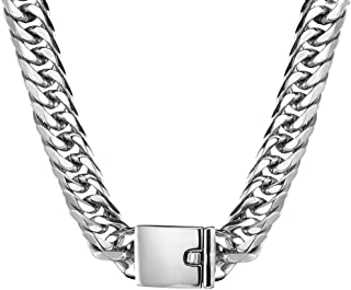 Jxlepe Miami Cuban Link Chain 16mm Big Silver White Stainless Steel Curb Necklace for Men