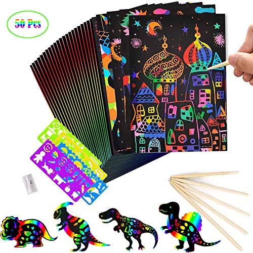 Fancartuk - Papel de arte para rascar para niños, 50 unidades de notas artísticas de arco iris para arañazos, notas de arte con 5 lápices ópticos de madera y 4 reglas de dibujo y 1 sacapuntas (32 K)