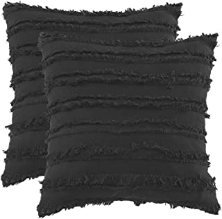GIGIZAZA Square 18x18 Black Pillow Covers,Decorative Couch Cushion Covers Sofa,Soft Cotton Pillow Cases Covers (Black, 18x18inch-2pcs)