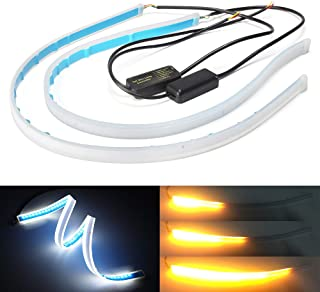 Xinfok 30cm New Slim Amber Sequential Flexible LED DRL Strip For Headlight daytime running light withe yellow turn signal lamp 12V (Xenon white/Amber)