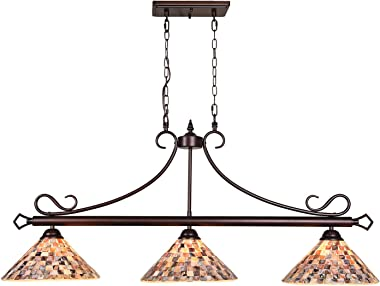 Artzone 3-Light Natural Shell Tiffany Pool Table Light, Kitchen Island Lighting, Oil Rubbed Bronze Rustic Light Fixtures Chan