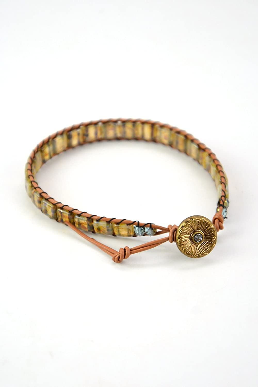 Czech Bead Challenge the lowest Great interest price of Japan ☆ Wrap Bracelet Leather