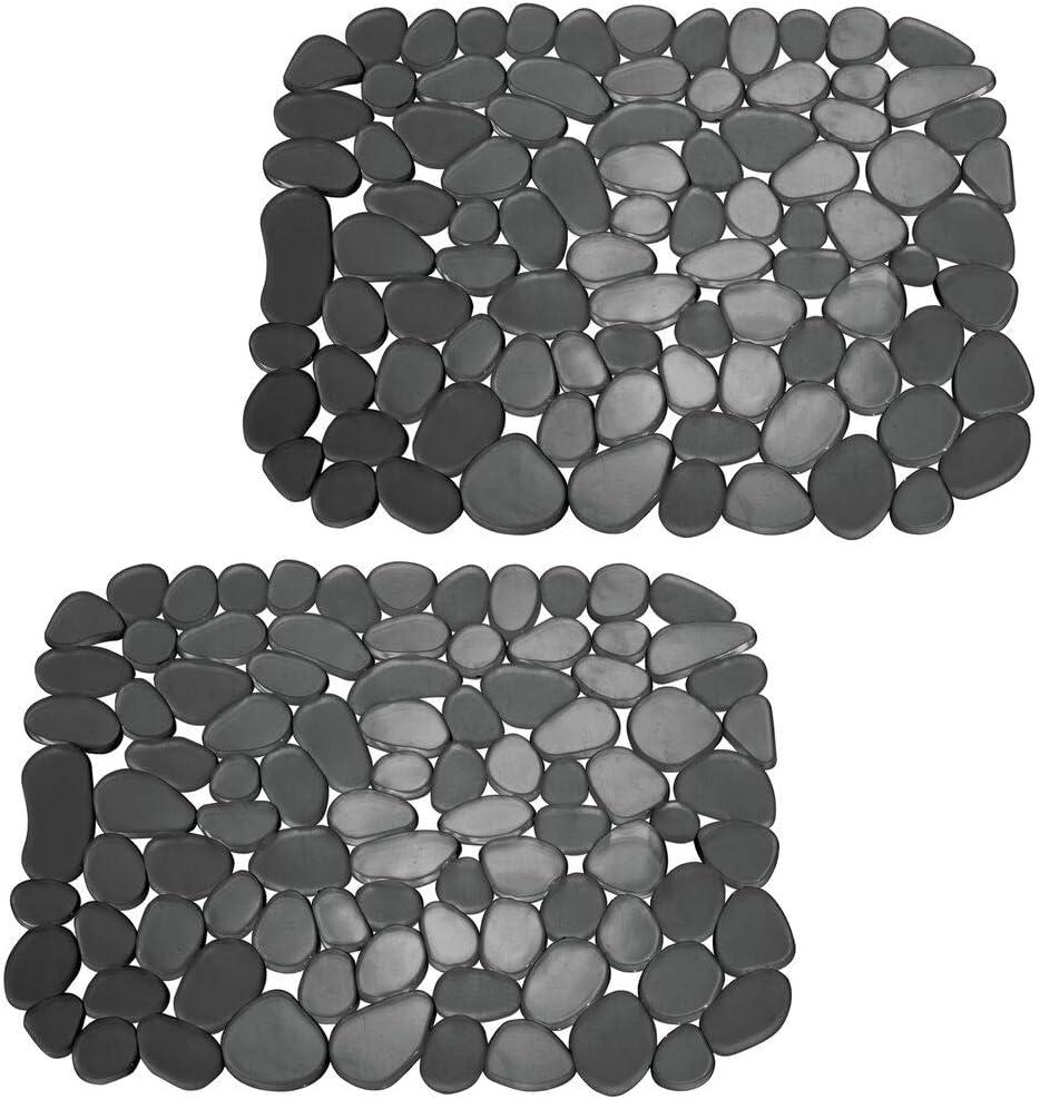 mDesign Juego de 2 alfombrillas antideslizantes y recortables – Práctico tapete de PVC para la cocina – Base para fregadero con diseño de guijarros para proteger la vajilla y el fregadero – negro
