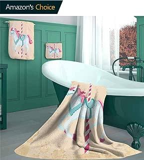 Horse Decor Cotton, 3 Piece Turkish Towel Set, Vintage Carousel Horse Childhood Circus Joyful Amusement Park Girls Nursery, Includes 1 Bath Towels, 1 Hand Towels, 1 Washcloths, Ocean Aqua Multicolor/S