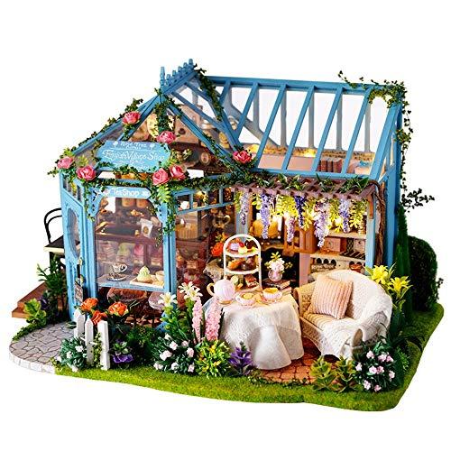 XMSIA Puppenhäuser Musik-Bewegung Geburtstags-Geschenke for Frauen und Mädchen DIY Miniatur-Puppen Kit Miniaturpuppenhaus Plus-Staub-Beweis Das Beste Geburtstagsgeschenk mit LED, Unisex