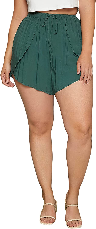 Romwe Women's Plus Size Lounge Shorts Wrap Loose Elastic Waist Beach Shorts