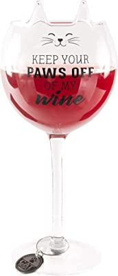 Pavilion Gift Company Keep Your Paws Wine Glass, 14 oz, Clear