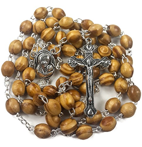 Nazareth Store Catholic Prayer Rosary Olive Wood Beads Necklace Holy Soil Medal with Cross Crucifix - in Velvet Bag