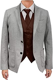 Dan Smith Men's Fashion Design Plain Microfiber Waistcoat For Urban Matching Tie With Free Gift Bags