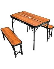 タンスのゲン 折りたたみ アウトドアテーブル 3点セット 幅90cm 高さ2段階調節 軽量アルミ 耐荷重160kg レジャーテーブル (ホワイト/ナチュラル/ブラウン) 45000000