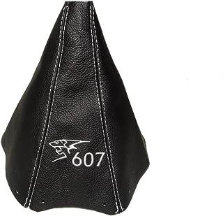 Para Peugeot 607de 1999–2012Gear polainas Cuero Negro León Blanco 607bordado