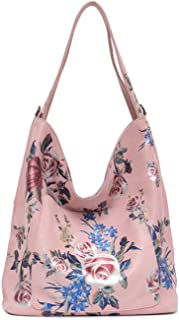 SC Large Flower Genuine Leather Hobos Purses&Handbags; Lady Soft Casual Front Pocket Flora ; Bags