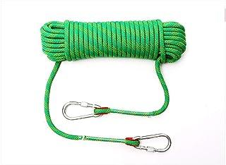 登山绳 14毫米 承重2500千克 50米 引导绳 露营 聚酯纤维 带登山扣 帐篷绳 防灾 安全 户外活动配件 多功能绳 辅助绳 多色 10米/20M/30M (Color : Green, Size : 40m)