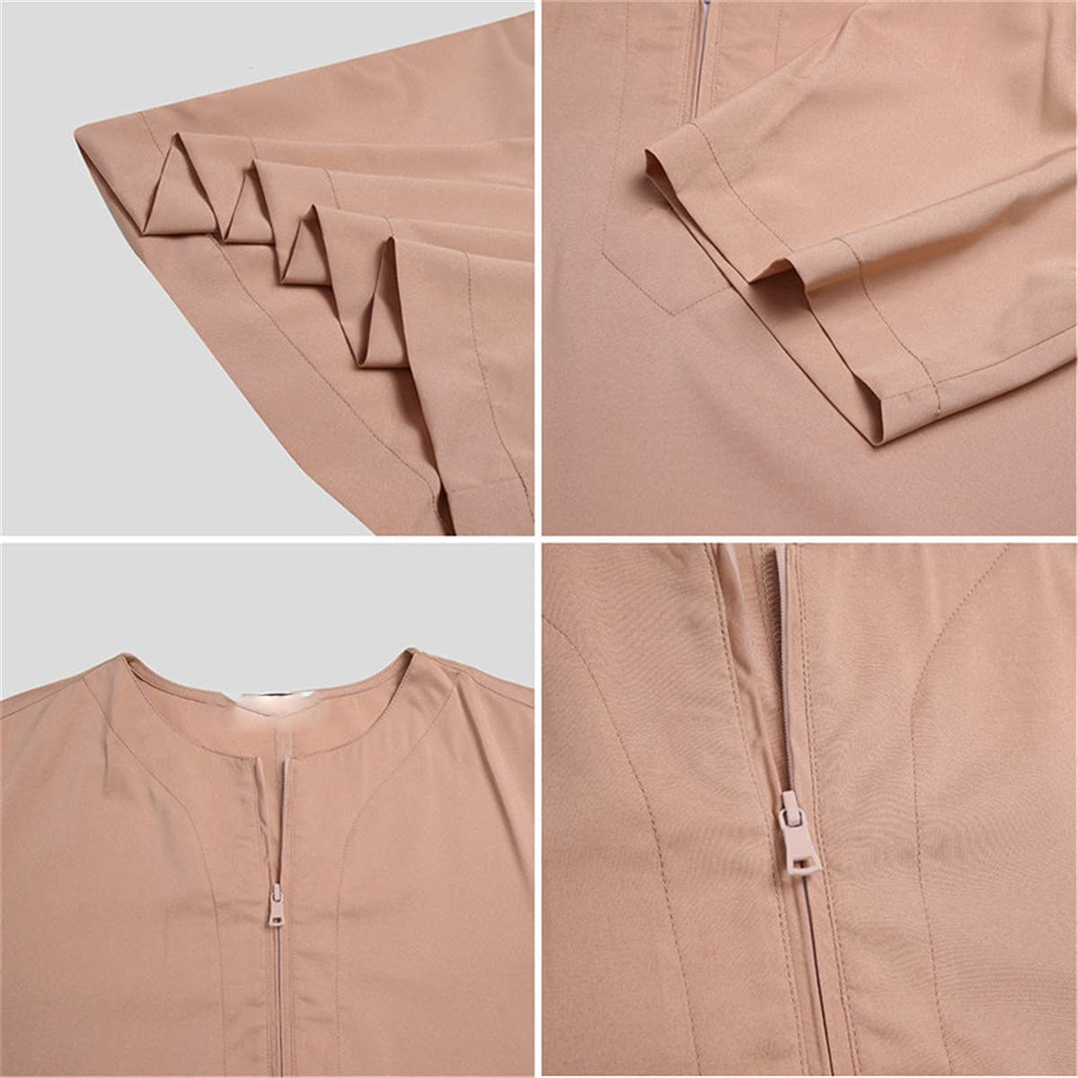 Man Vintage Short Sleeve O Neck Muslim Arabic Islamic Solid Color Robes Saudi Style Zipper Jubba Thobe