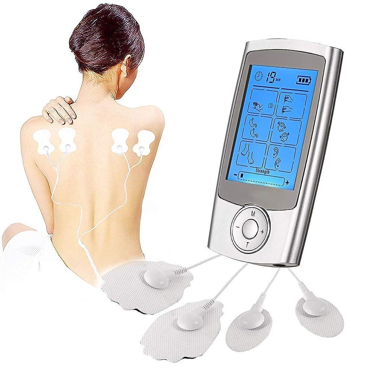 エスカレーター敵意マダムマッサージステッカー 10の機械痛みの軽減機械、EMSのマッサージ16のモードおよび背中の首の圧力坐骨の痛みを扱うための8つのパッドのマッサージャーが付いている疼痛管理そしてリハビリテーションのための10の機械療法装置
