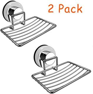Amoet Soap Dish Holder Stainless Steel Suction Cup Soap with Hooks  Soap Dish Rack   Soap Tray   Soap Saver Dish   Self-draing Soap Saver   Soap Basket Sponge Holder for Bathroom & Kitchen (2 Pack)