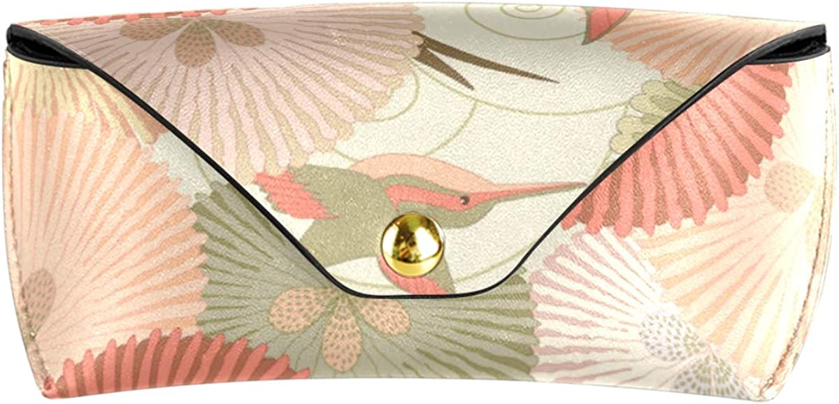 Hummingbird Floral Multiuse Portable Goggles Bag PU Leather Sunglasses Case Eyeglasses Pouch Office