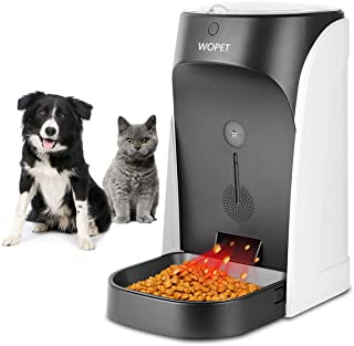 WOpet Automatic Cat Feeder, Pet Feeder Auto Dog Cat Feeder Stainless Steel Bowl,Portion Control & Voice Recording – Timer Programmable Up to 4 Meals a Day