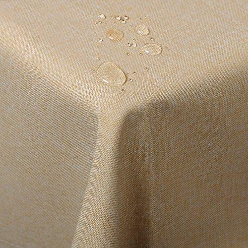 WOLTU TD3042sd Tischdecke Tischtuch Leinendecke Leinen Optik Lotuseffekt Fleckschutz pflegeleicht abwaschbar schmutzabweisend Farbe & Größe wählbar Eckig 135x200 cm Sand