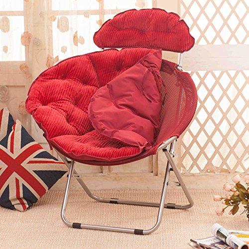 chaise Grande de Lazy paresseuse de Radar Siesta Pliant Fauteuil inclinable de Soleil tête de Pliage Peut être posée Coussin Amovible, Couleur: Rouge