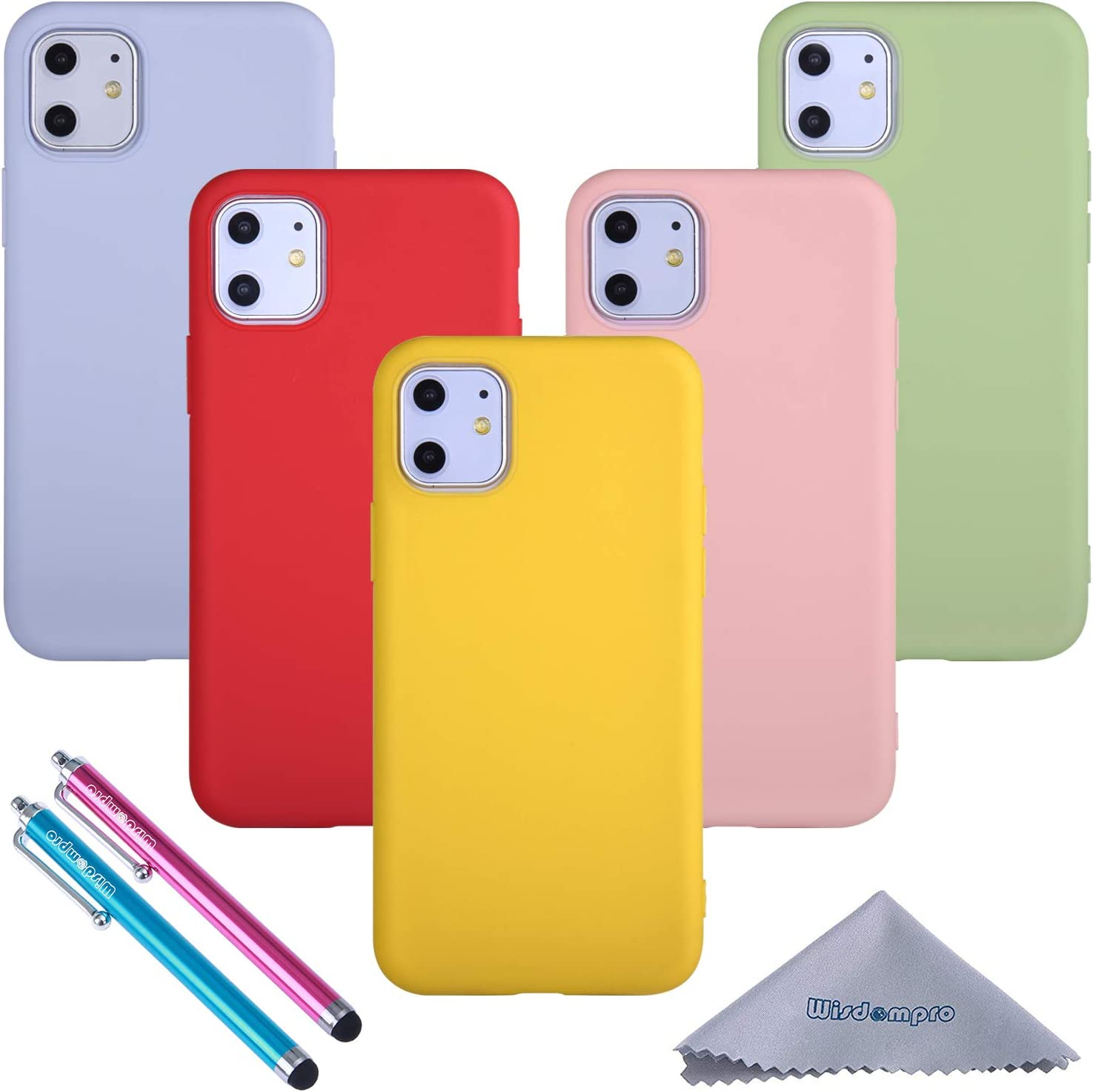 Wisdompro iPhone 11 Case Bundle of 5 Pack Extra Thin Slim Soft TPU Gel Protective Case Cover for 6.1 Inches Apple iPhone 11 (Green, Light Blue, Pink, Yellow, Red)