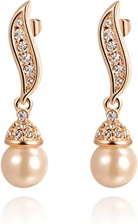 Angelady White Pearl Earring and Necklace Sets 18k Rose Gold Plated Wedding Engagement Jewelry Sets