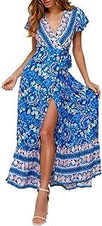 StarLifey Mujeres Sexy Cuello en V Boho Estampado Floral Vestido Casual Vintage Summer Beach Wrap Sash Vestido de Fiesta d...