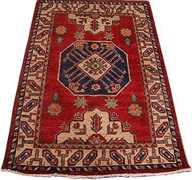 AHMEDANI Super Kazak Caucasion Geometric Area Rug Hand Knotted Vegetable Dyed Ghazni Wool Carpet (4.9 x 3.3)'