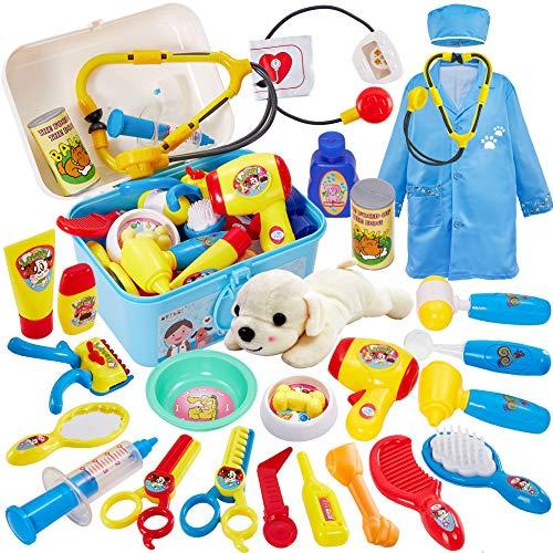 Buyger 2 en 1 Maletín Medico Veterinaria Aseo de Mascotas Juguete Juego de Imitacion Regalos para Niños 3 4 5 Años (Azul)