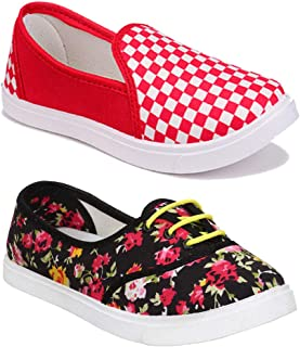 Shoefly Women Multicolour Latest Collection Sneakers Shoes- Pack of 2 (Combo-(2)-11016-611)
