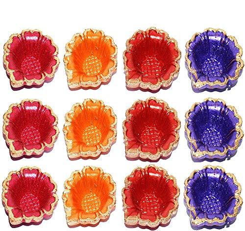 12dekorative Diya-Öllampen für Diwali-Lichterfest, von Hand getöpfert, traditionelles Willkommensgeschenk, mit Baumwolldochten (Batti) - - -