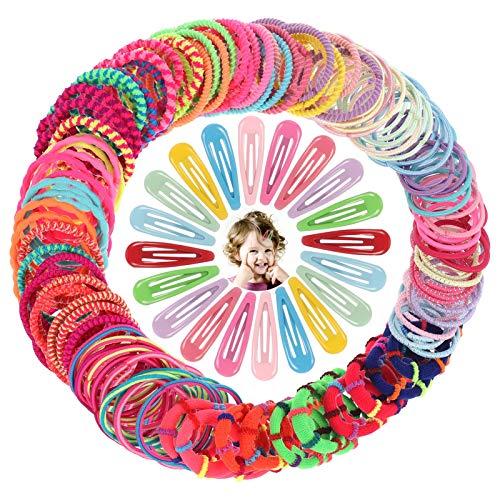 tonyg-p 100 Stück Elastische Haargummis für Mädchen, Mehrfarbiger Klein Zopfgummi mit 20 Stück Bunte Metall Haarspangen Mini Dünne Haarschmuck für Kinder Mädchen