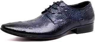 [セルダオマニ] 商標登録102874 メンズ レザー ビジネスシューズ 紐 メダリオン トラッドシューズ 本革 ポインテッドトゥ ホールカット プレーントゥ エンボス 結婚式 ドレスシューズ 革靴 紳士靴 オフィスシューズ (ネイビー) 0929-801