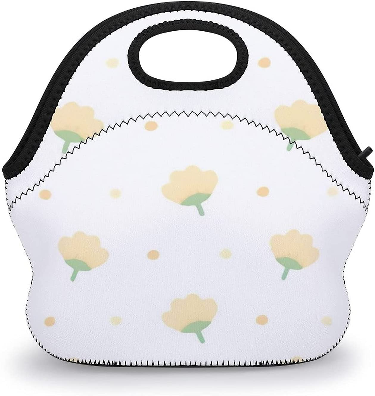 Upgraded half lunch Translated bag,Cute Yellow Bac Flowers Seamless Pattern