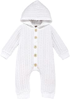 Kaipiclos Newborn Baby Girl Boy Clothes Layette Knitted Hoodie Sweater Romper Jumpsuit Bodysuit One-Piece Fall Outfits