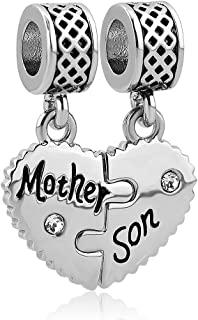 Heart Love Mom Mother Daughter Son Charm Dangle Beads Charms for Bracelets