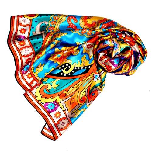 Lorenzo Cana Luxus Damen Seidentuch aufwändig bedruckt Tuch 100% Seide 110 x 110 cm harmonische Farben Damentuch Schaltuch 8904688