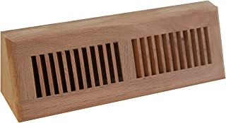 WELLAND Red Oak Baseboard Diffuser Wood Vent Register,15 L X 3 1/2 W X 4 1/2 H Inch