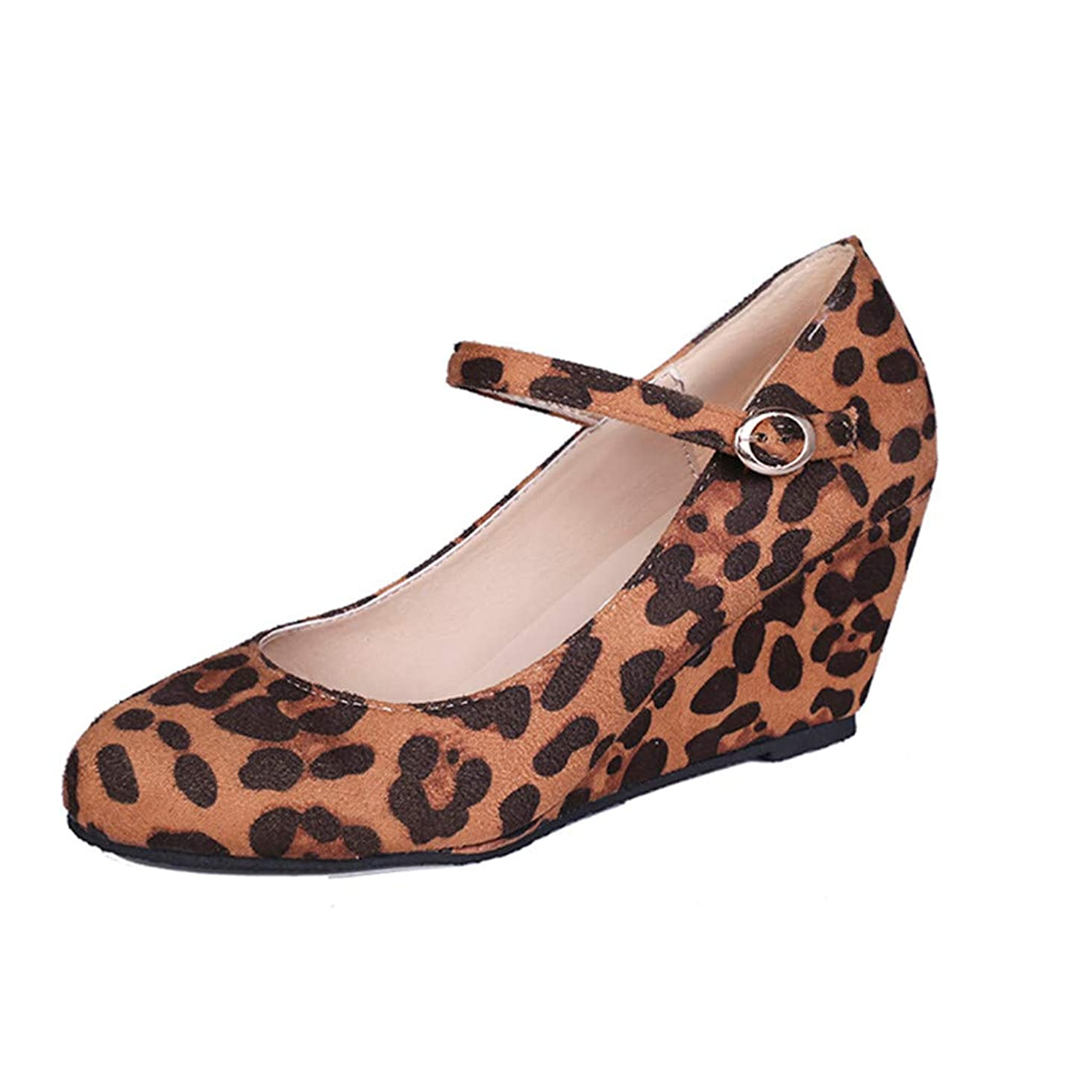 Fashion Respctful? Women's Mary Jane Closed Round Toe Buckled Strap Ankle Strappy Wedge Pump