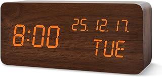 FiBiSonic LED Wecker Holz Digitalwecker Tischuhr mit Sprachsteuerung Datum für Zuhause, Schlafzimmer, Kinderzimmer und Büro Braun