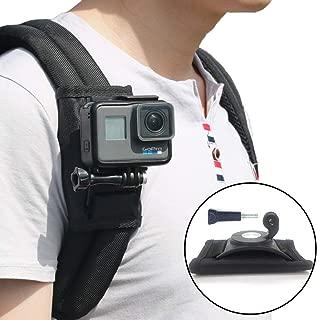 バックパックマウント 360度 回転式 GoPro Hero アクションカメラ 簡単固定 簡単装着 肩部用