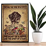 Letras de arte de pared con flores, Tattoo Is Not A Crime Poster, Rose Tattoo Girl And Cotizaciones Printing, A Girl Who Loves Tattoos and Butterfly Picture, NO FRAME - Póster de 11 x 17 pulgadas