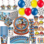 Paw Patroll Party for 8 - Plates, Cups, Napkins, Birthday Hats, Balloons, Masks, Loot Bags, Hanging Decorations, Tattoos, Table Cover, Party Blowouts